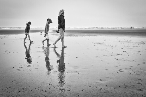 My family on a beach walk along the Washington coast.